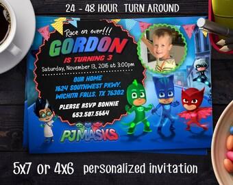 Pj Masks Birthday Party, Pj Masks invite, Pj Masks Boy Invitations, PJ Masks Birthday Invitation, PJ Masks Invitation, PJ Masks Party