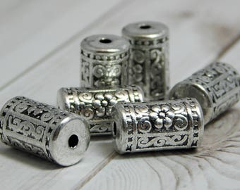 17x10mm - Metal Beads - Silver Beads - Drum Beads - Barrel Beads - Column Beads - Tibetan Beads - Metal Focal  - 6pcs (2915)