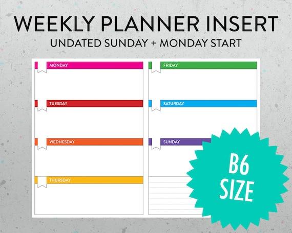 B6 Undated Weekly Horizontal Planner Printable Insert PDF