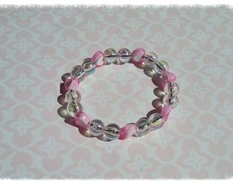 Bracelet with row of glass beads