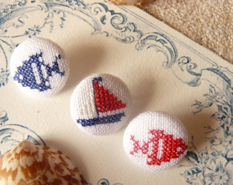 """three buttons embroidered"""""""" """"the sea theme"""" """""""