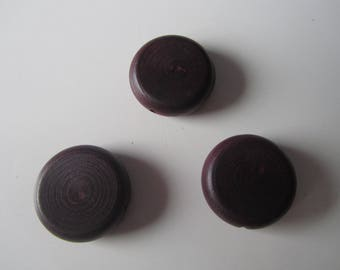 Set of 3 large flat wooden beads - round of dark brown color