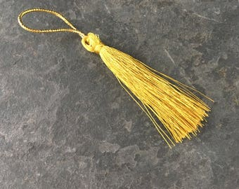 hanging 2 tassels long tassels, gold gilt with handle, 8 cm