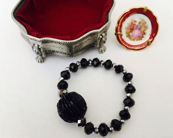 Black Crystal amd seed Bracelet 'Midnight'