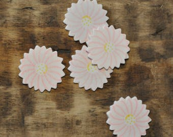 Wood - pink flower - set of 16 subjects decorations