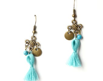 Earrings ethnic Chinese knot and tassel