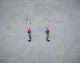Mermaid in silver and fuchsia Pink Pearl Earrings