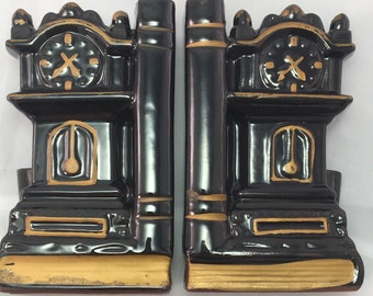 Vintage Grandfather Clock Bookends, Red Clay Made In Japan