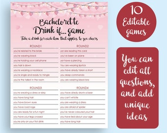 Bachelorette Party Games, Drink If Game, Printable Bachelorette Games, Hen's Night, Hen Party, Games Package, Drinking, Instant Download