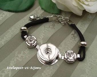 BRACELET BOUTONS PRESSIONS noir 20 cm polyester zircons ronds  pour création avec boutons a pressions 1.8 cm