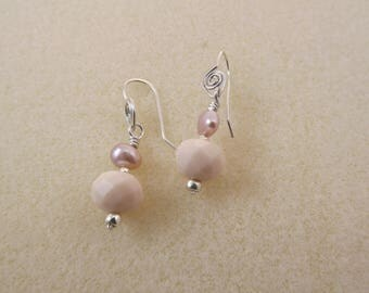 pretty soft pink drop earrings of faceted czech crystal and baroque pearl with hand-forged sterling silver earwires
