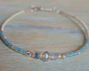 Sparkling Blue Crystal Beaded Bracelet