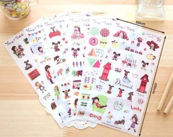 """Set of 6 sheets of stickers / decals """"north europe"""""""