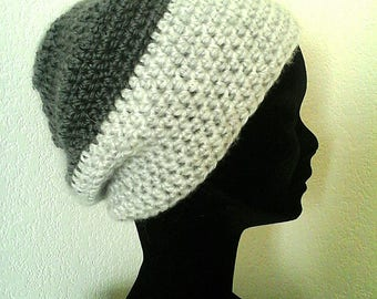Light and dark gray crochet Beanie