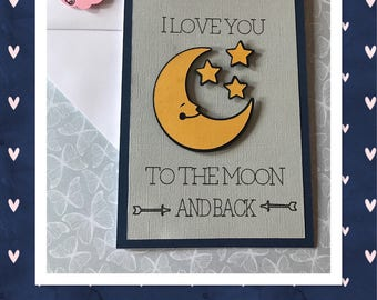Cute love you to the moon card - birthday card, anniversary card, special occasion card