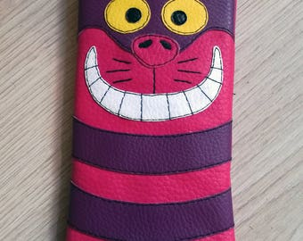Cover phone cell leatherette Cheshire Cat