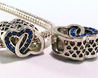 2 beads European alloy silver metal and rhinestones (64 (A) blue heart