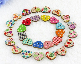 set of 10 wooden buttons heart multicolor