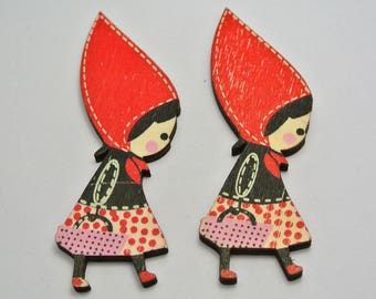 Set of 2 little Red Riding Hood embellishment