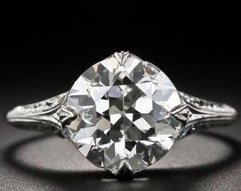 Edwardian Platinum Diamond Engagement Ring 2.40 Ct