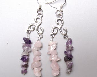 Rose quartz and Amethyst earrings.