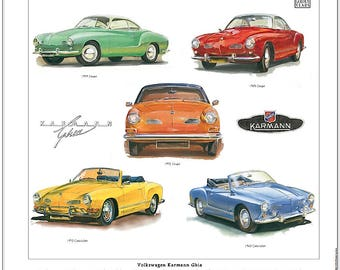 VOLKSWAGEN KARMANN GHIA Fine Art Print - Coupe and Cabriolet models illustrated