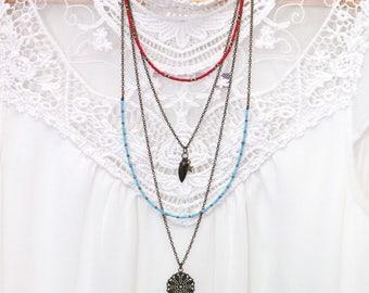 Necklace bronze necklace MULTISTRAND Bohemian woman