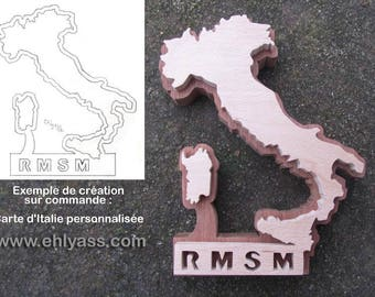 Your custom design example: map of Italy + letters