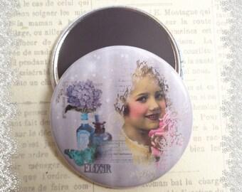 "Magnet 56 mm illustrated ""Elixir perfume"", vintage, retro theme"