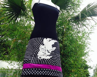 Strapless black clouded with polka dot/Cotton Jersey skirt graphic blancJap/black/purple