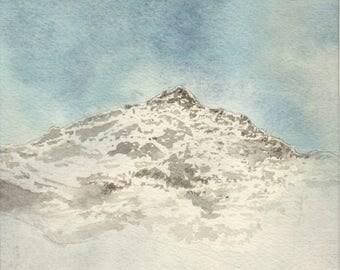 Born mount (2) - Pyrenees - 2014 - 14 x 19 cm - watercolor