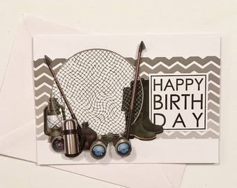 """Happy birthday"" 3D birthday card for men - fishing Theme"