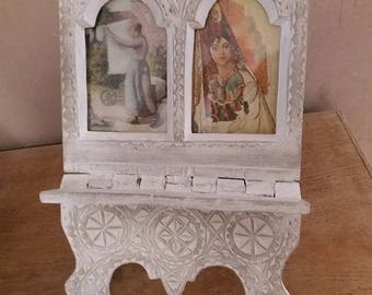 Old vintage carved wooden photo frame