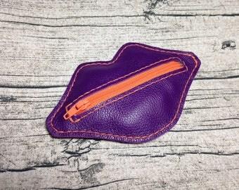 Kisses Kit: wallet genuine leather purple color