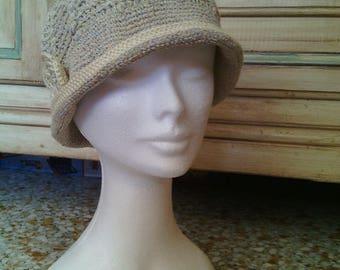 summer cotton crochet cloche Hat ivory linen with crochet flower detachable-Hat sea. Cloche parasol
