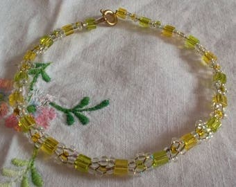 Bracelet Crystal beads and yellow