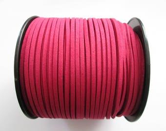 1 mètre cordon plat suédine largeur 2.5 mm couleur : rose fuchsia