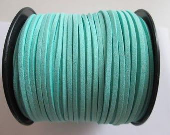1 mètre cordon plat suédine largeur 2.5 mm couleur : vert deau