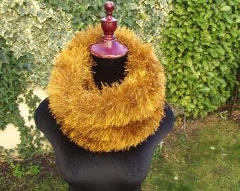 snood neck faux fur golden bronze color