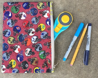 Football-Themed Vintage Tie Zipper Pouch
