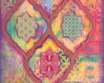 "Original painting, Sweet & true, 12 x 16 "" Mixed media artwork Moroccan Art Bohemian Art Arabesque Original Indian theme Arabian Painting"