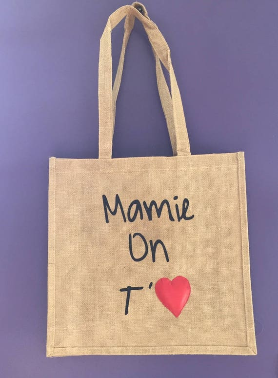 "Canvas tote bag jute ""Grandma we love you"""