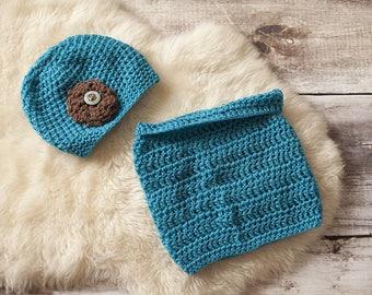 Set Hat + girl snood, Royal Blue & Brown