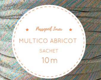 10 m lurex - multicolor apricot piping bag