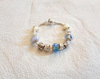 Bracelet TREASURE bead murano/pandora/blue/Silver 925/glass/crystal/charm European/lampwork/feminine/classy/elegant/gift/treasure/unique /