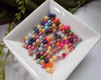 50 acrylic beads - multicolored 6 mm