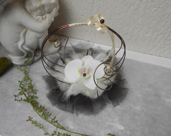 Ring bearer for wedding - ivory and chocolate with Orchid