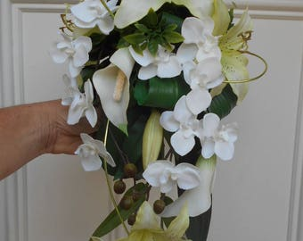 """Cascading bridal bouquet-""""Elise"""" lime green and white"""