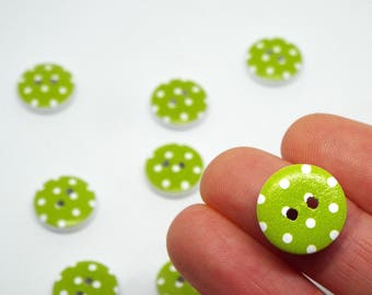 8x Green Spotty Polka Dot Wooden Button 15mm Round