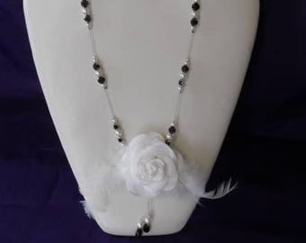 Bridal necklace pearl beads, black and white